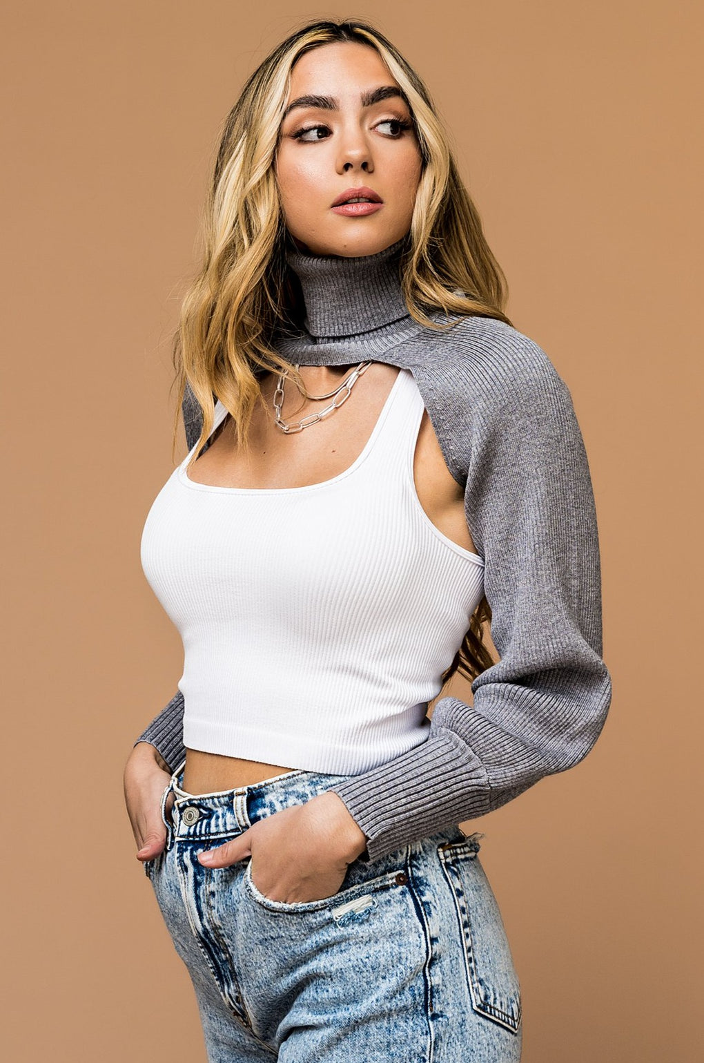 Hottie Cutout Turtleneck in Grey *RESTOCKED*