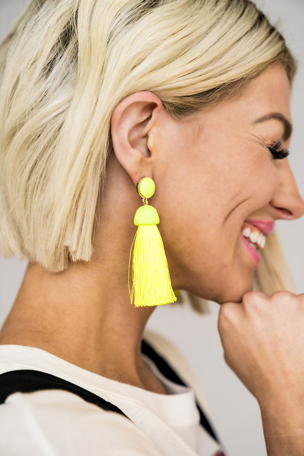 Neon Love Tassel Earrings