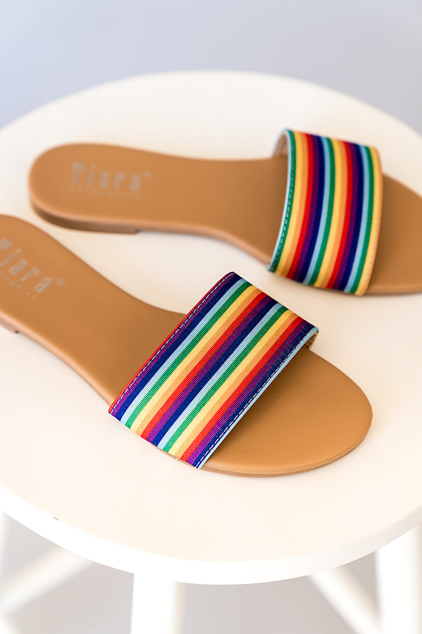 Rainbow Stripe Slides