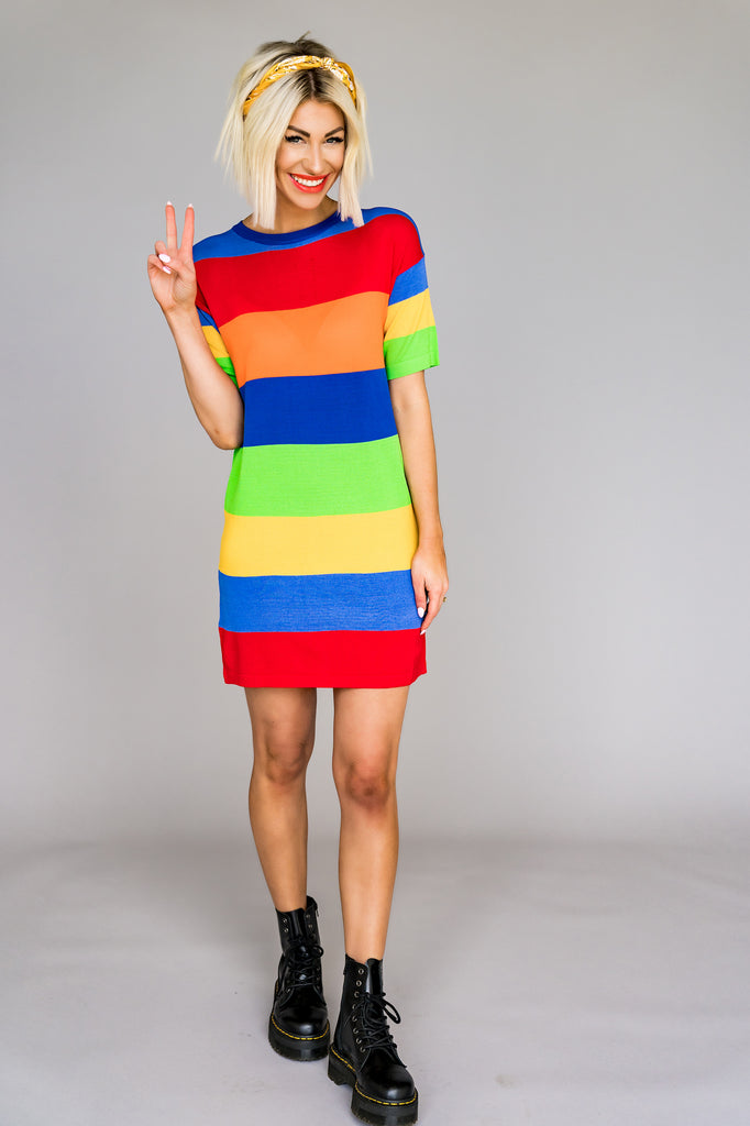 Zella Rainbow Stripe Dress
