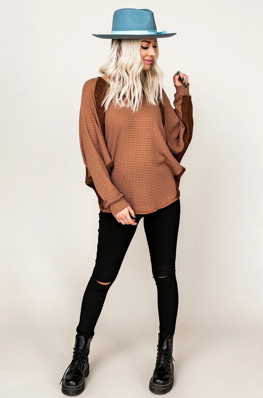 Your Girl Oversized Waffle Knit Pullover
