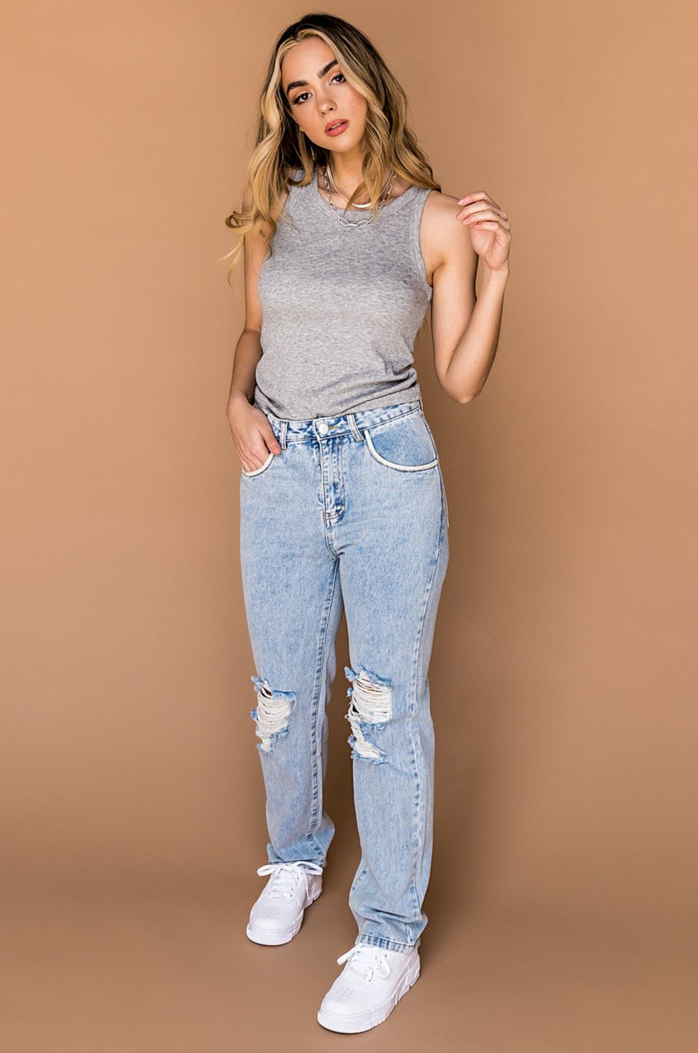 Gigi Distressed Tapered Leg Jeans *Embellished*
