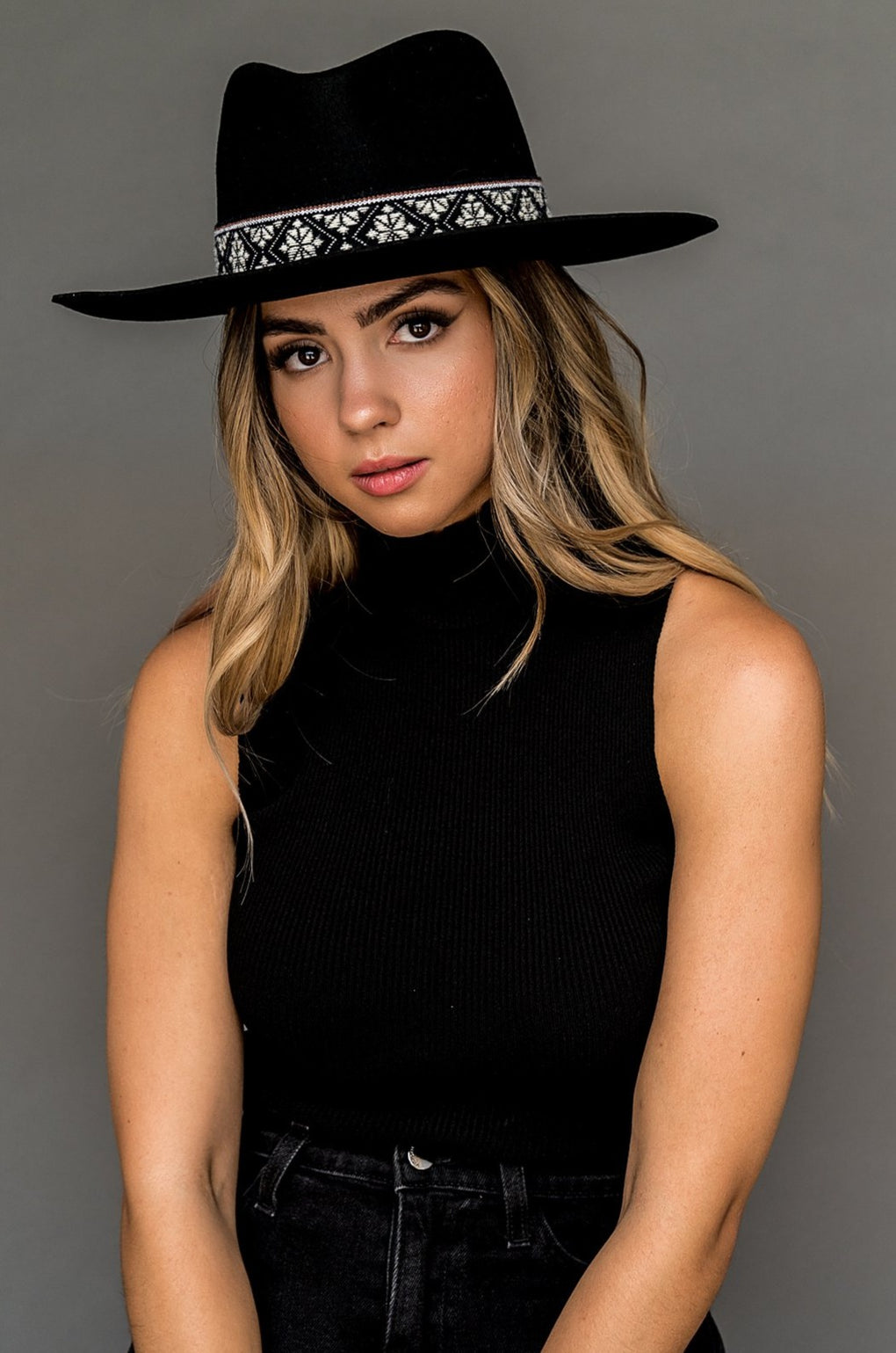 Daphne Boho Banded Hat in Black