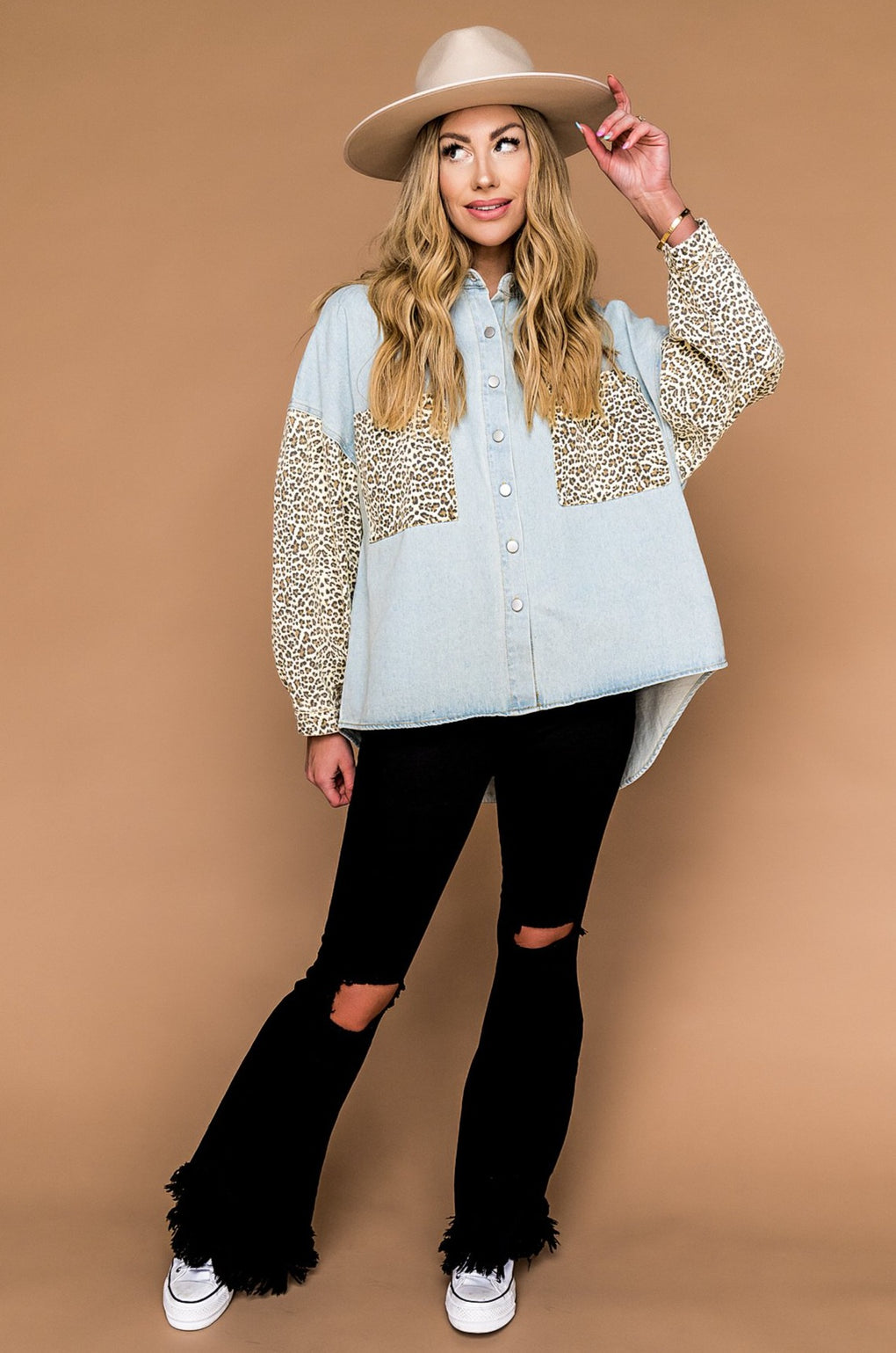 Heartbreaker Denim + Leopard Jacket in Vintage Blue