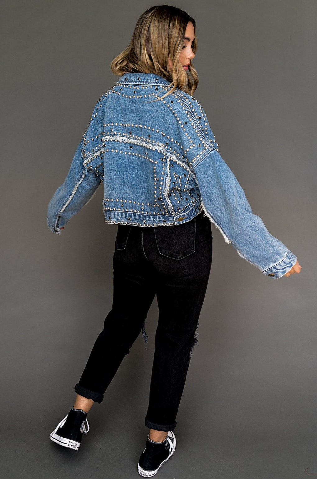 Royal Luxe Studded Denim Jacket in Blue