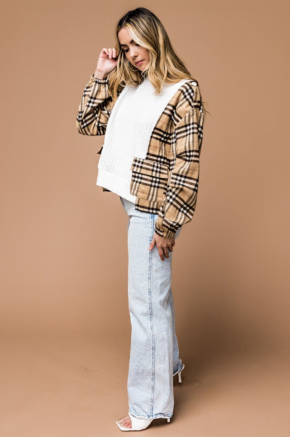 Intuition Plaid Panel Sweater