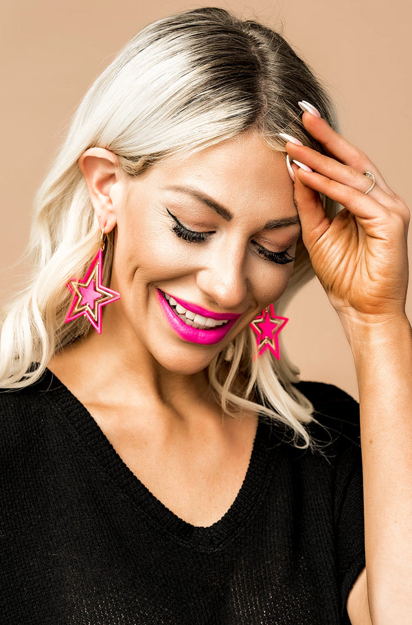 Electric Pink Star Drop Earrings