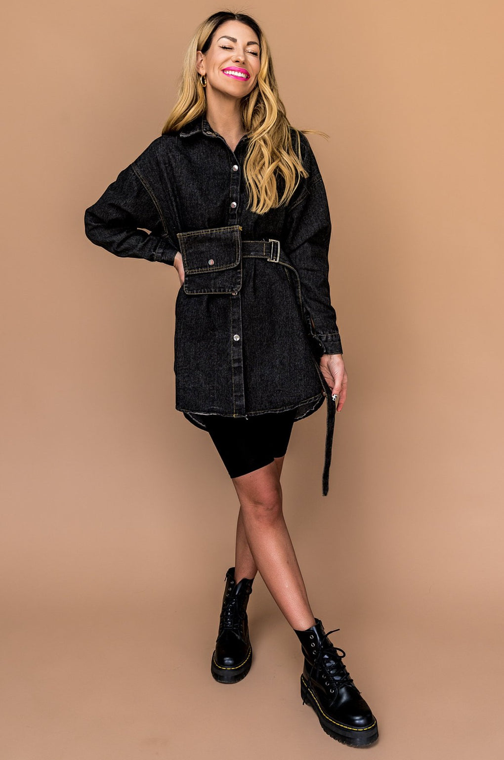 My Type Belted Denim Top in Black *Lex's Pick*