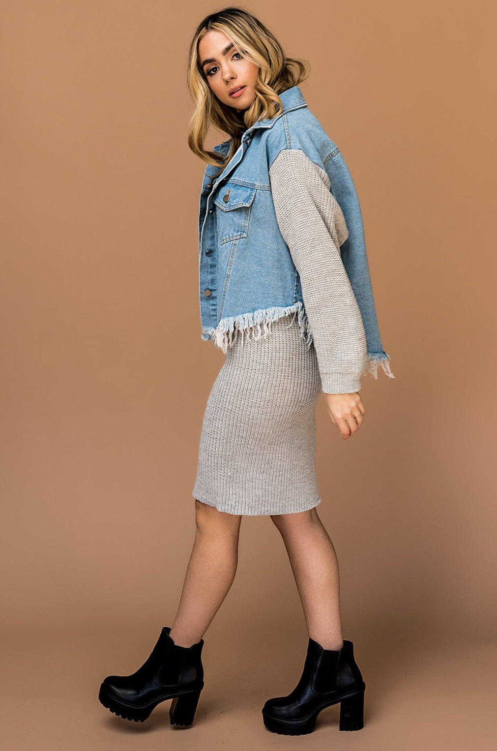 Woman Crush Jacket + Skirt Set in Grey