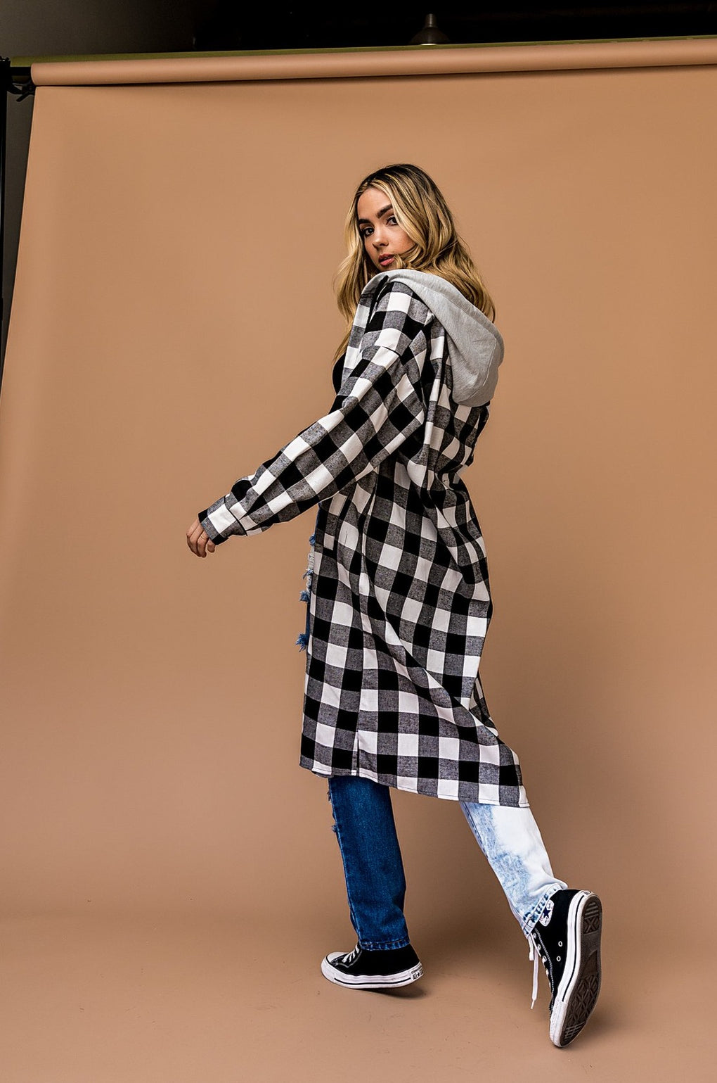 Luna Oversized Plaid Jacket *Hooded*
