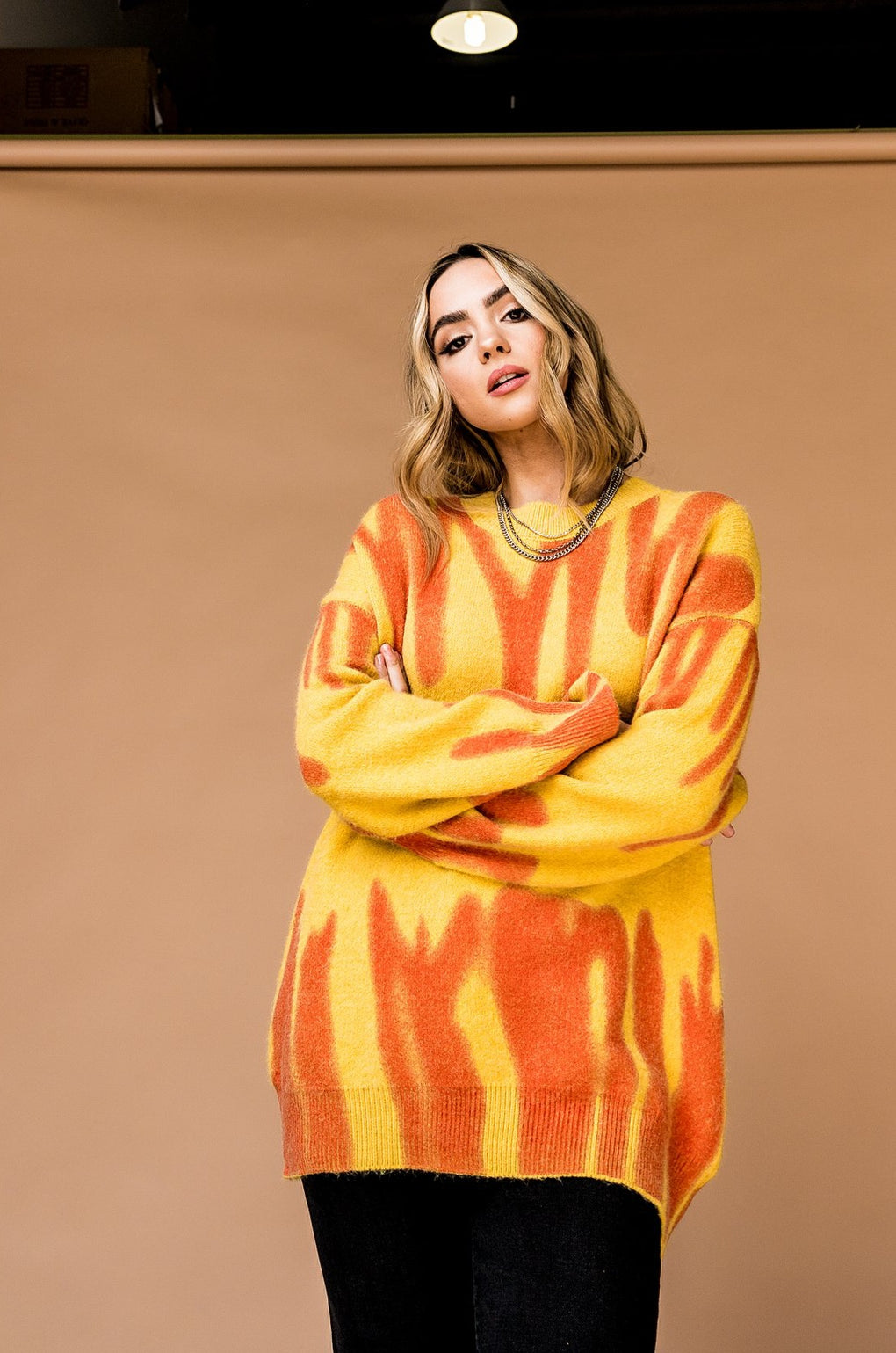 Free at Last Oversized Abstract Sweater in Sunshine