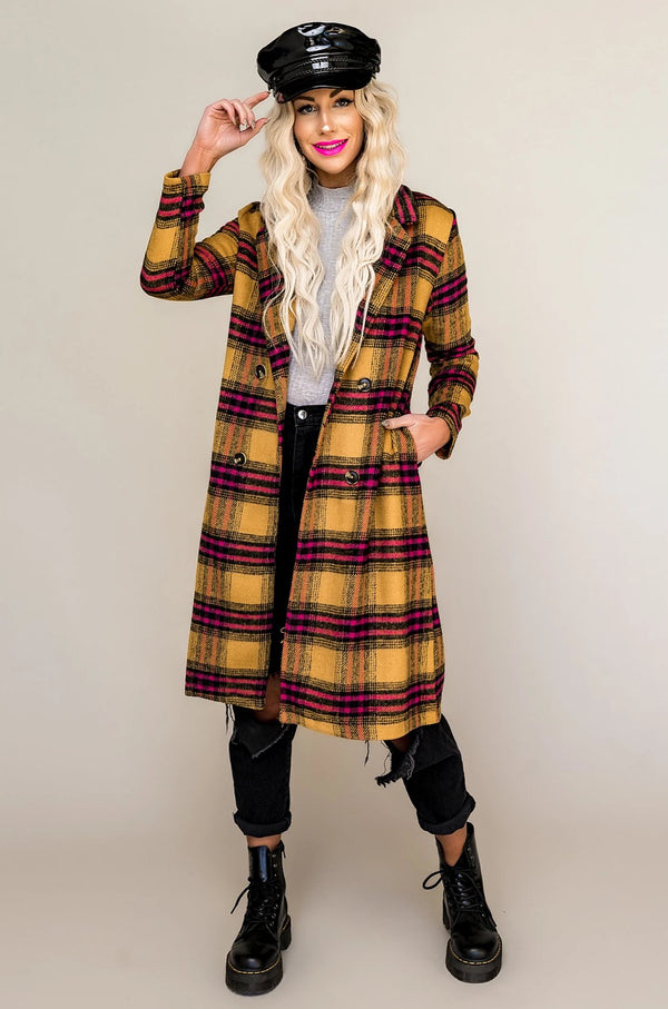 Chamomile Tea Plaid Coat