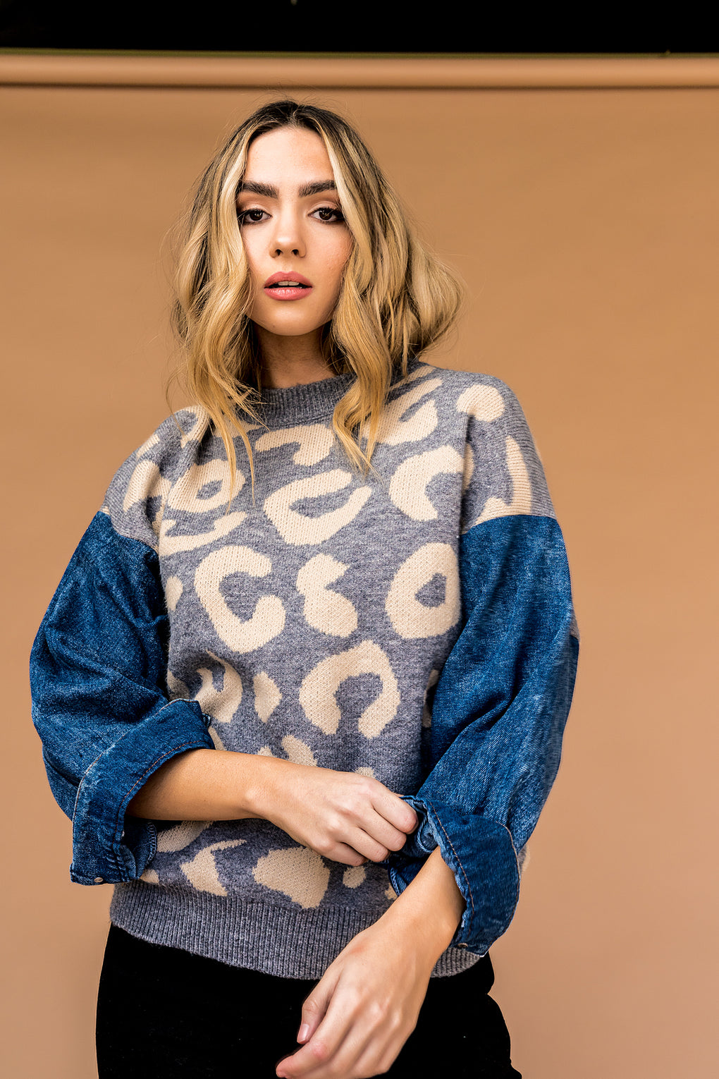 Wild Hearted Denim Sleeved Leopard Sweater