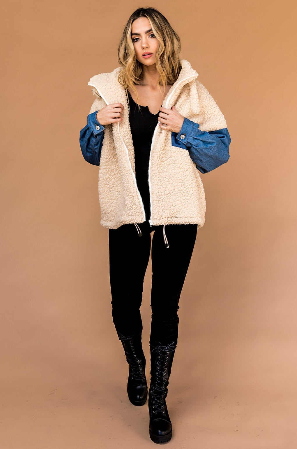 Westbrook Oversized Sherpa + Denim Jacket