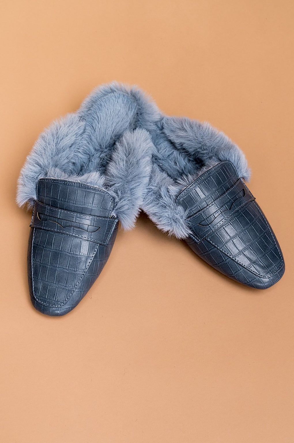 West Hollywood Faux Fur Croc Mules