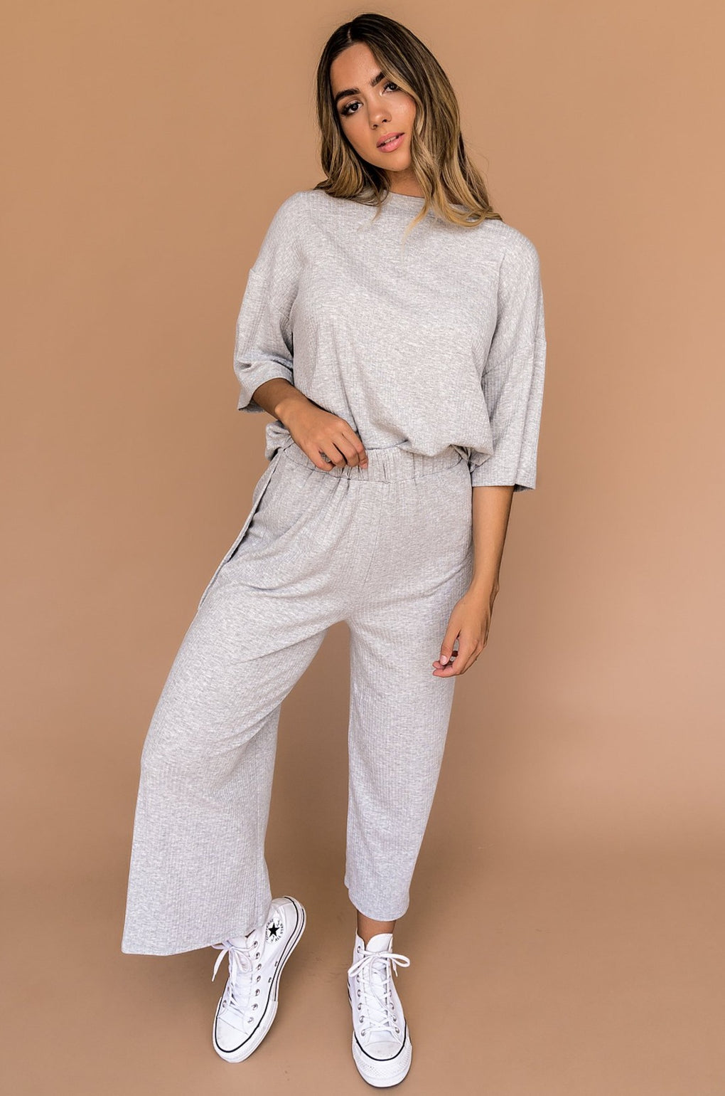 LALA ORIGINAL DESIGN: Lex Ribbed Playsuit in Grey
