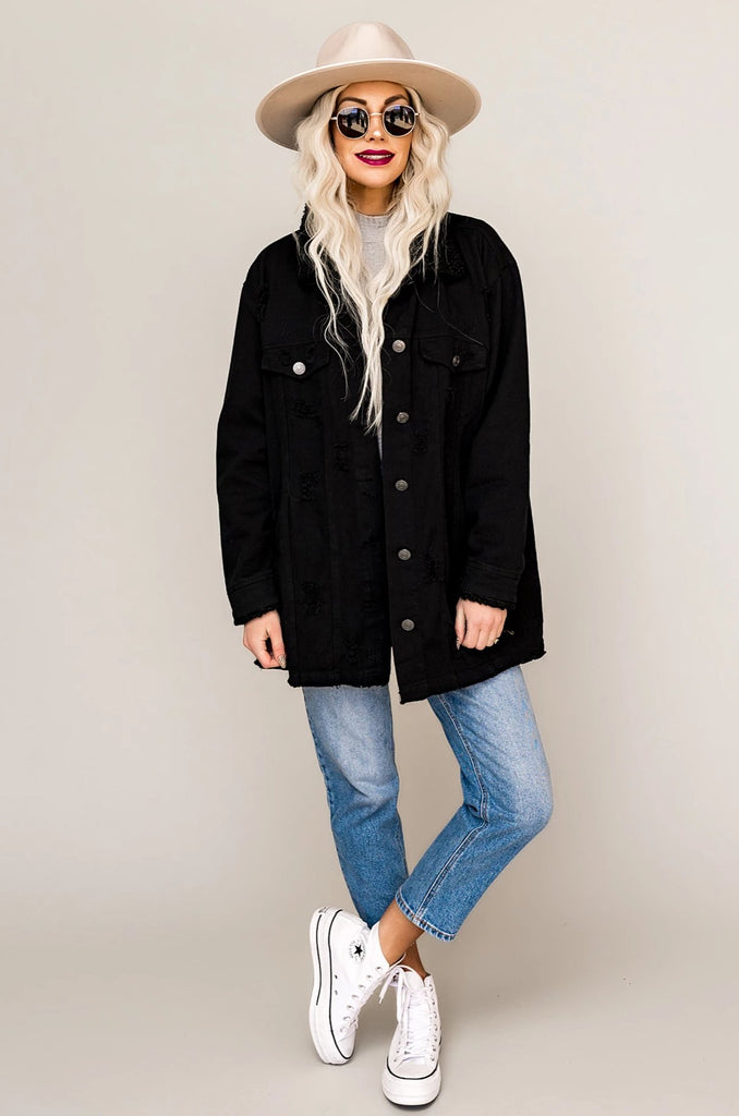 Kickin' It Black Denim Sherpa Jacket