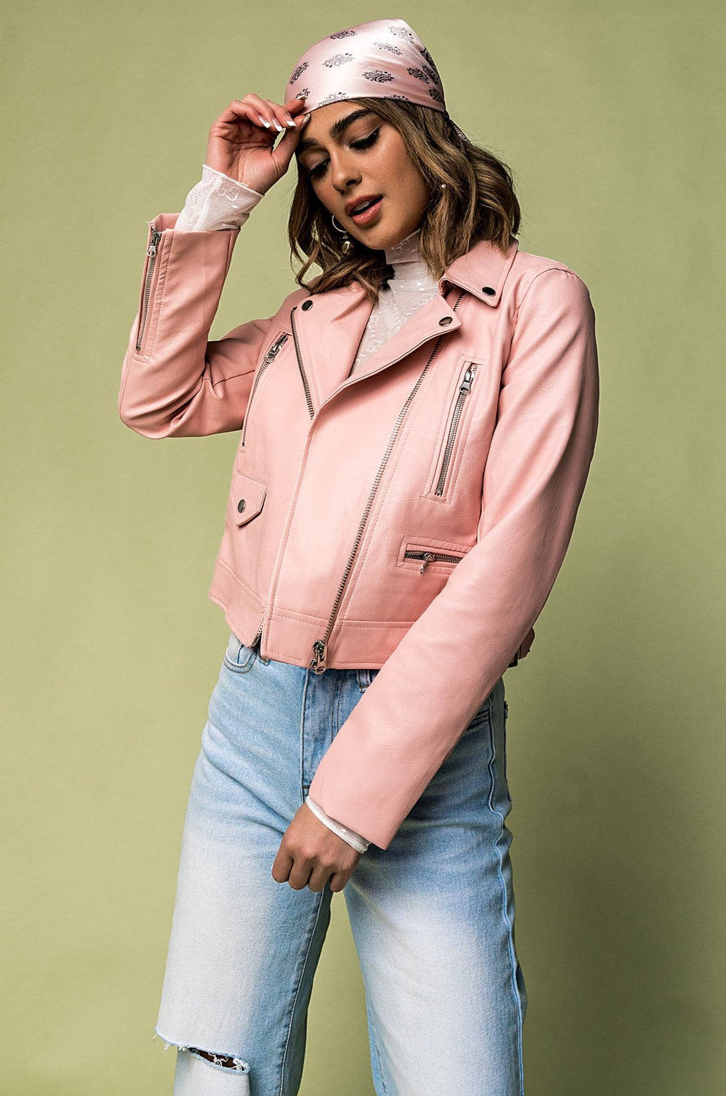 Paper Planes Vegan Leather Jacket in Rose
