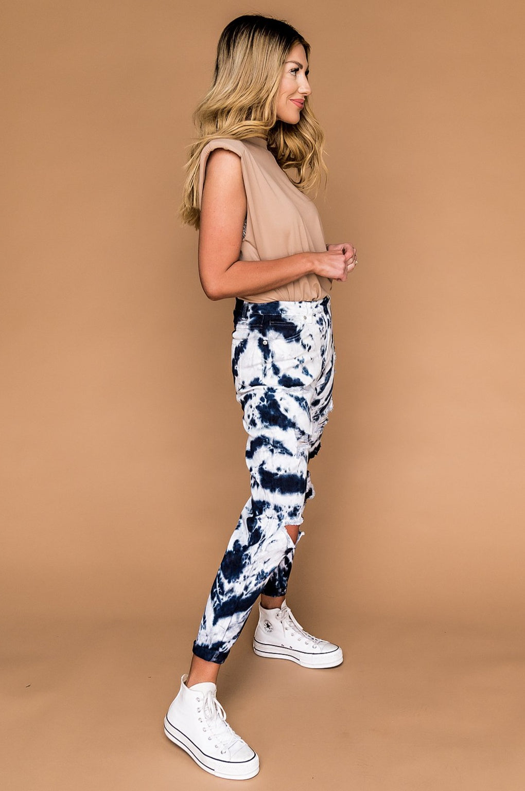 Psychedelic Distressed Tie Dye Mom Jeans in Dark