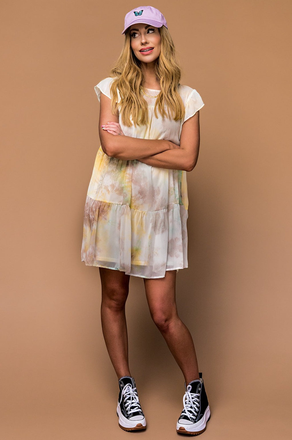 Pastel Sunset Tie Dye Mini Dress