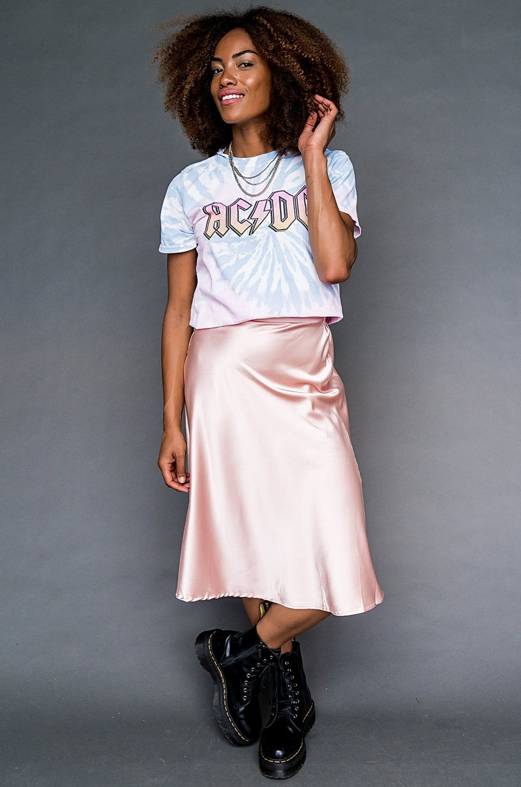 Cherry Blossom Satin Midi Skirt