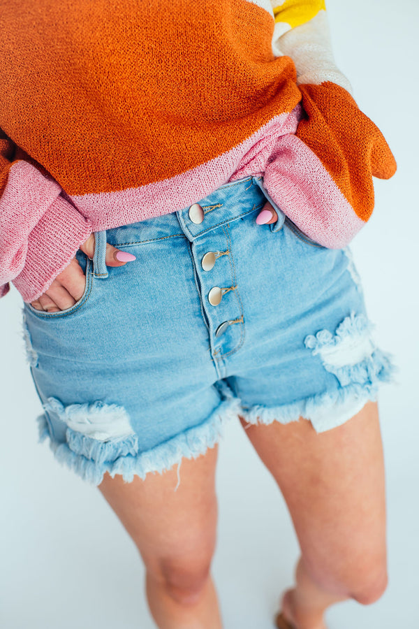Denim Daze Button Up Shorts in Light