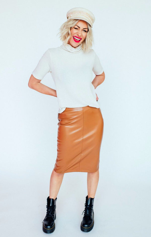 Caramel Vegan Leather Skirt