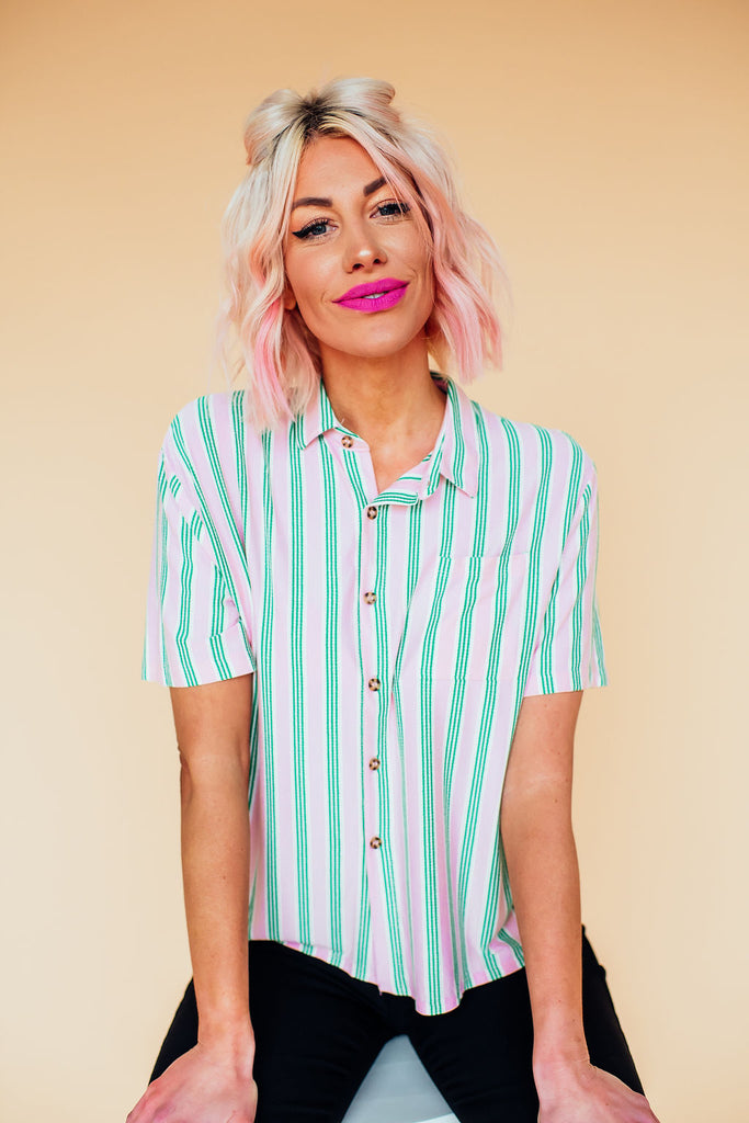 Candy Stripe Button Up