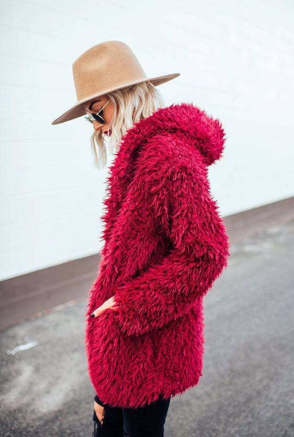 Merlot Teddy Coat