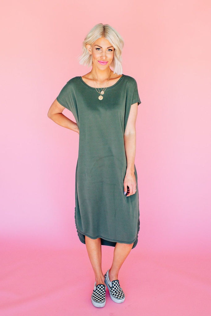 Obsessed Olive T-Shirt Dress