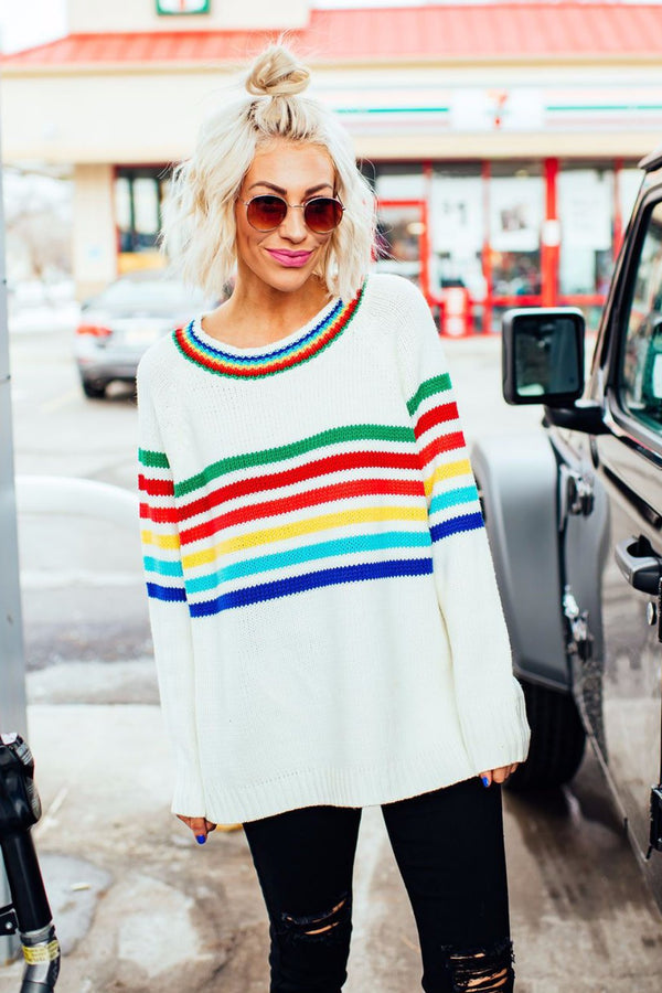 Raddest Rainbow Knit Sweater