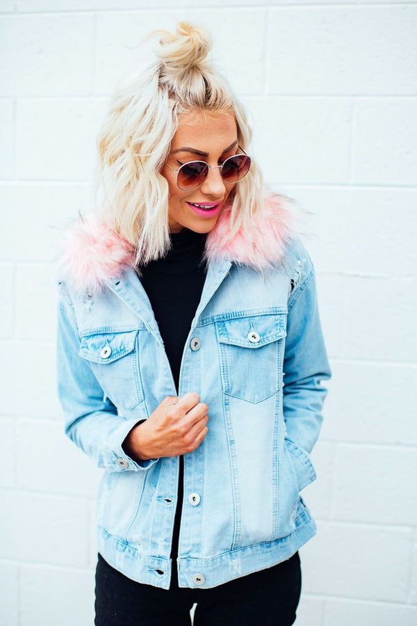 Cotton Candy Faux Fur Denim Jacket