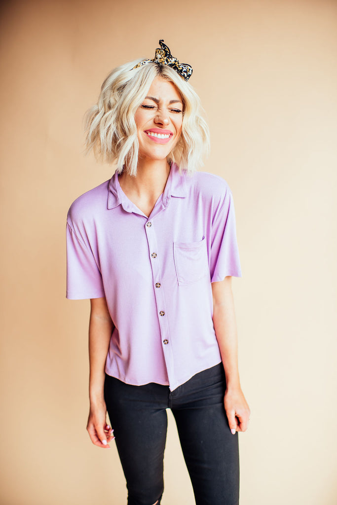 Lily Lavender Button Up