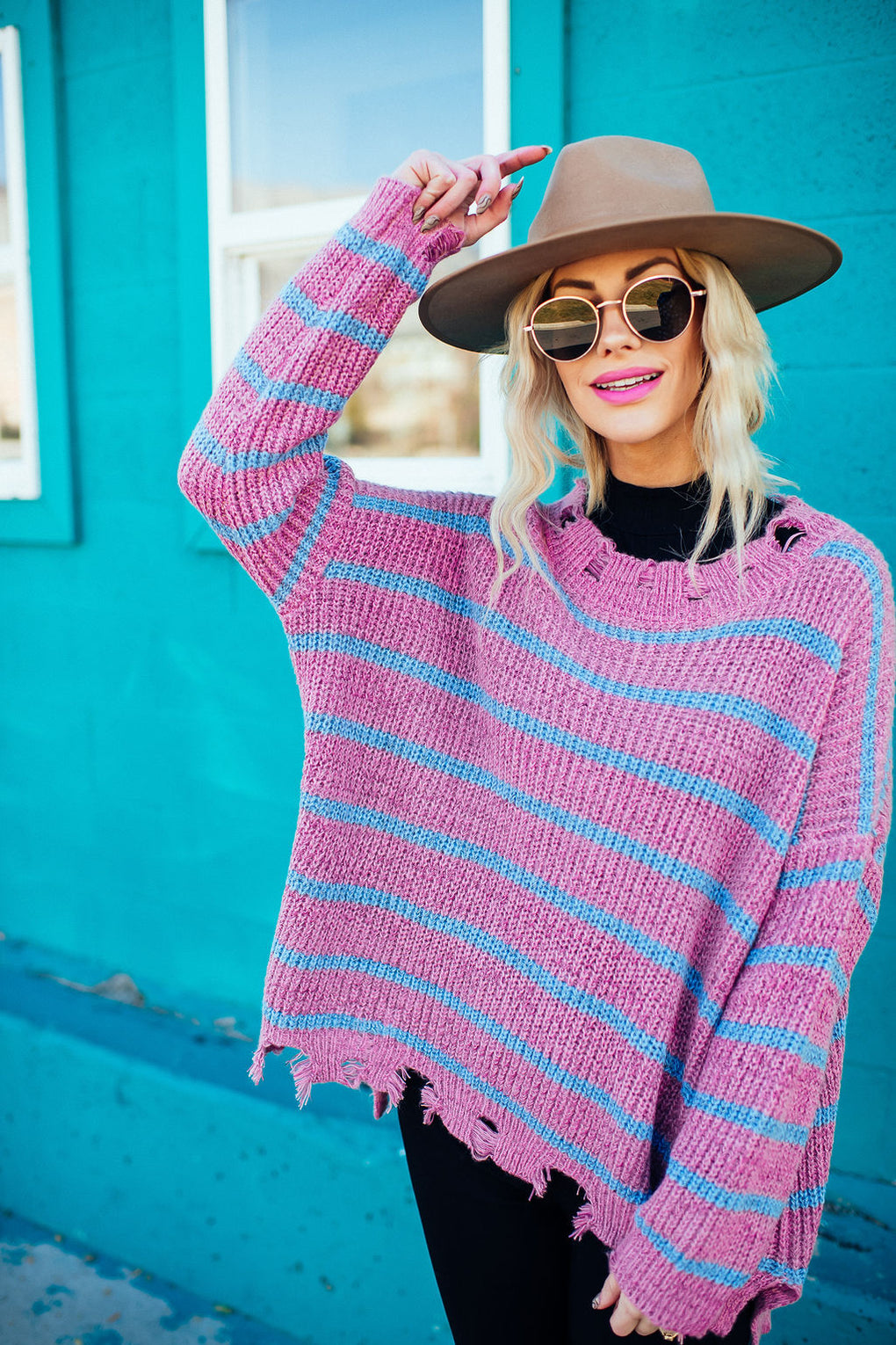 Malibu Striped Distressed Knit