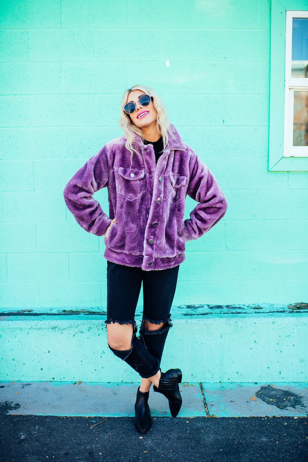 Purple Rain Faux Fur Coat