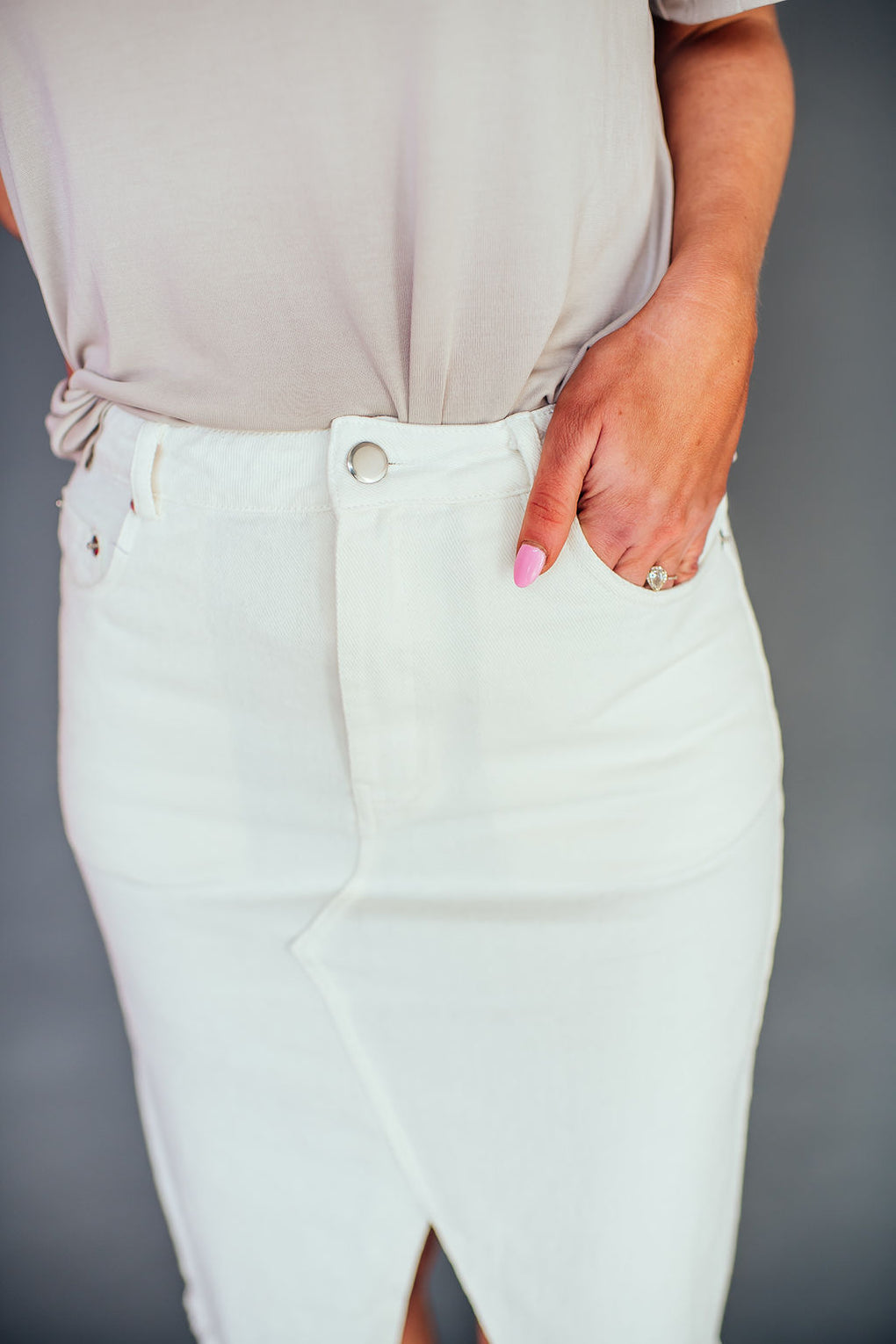 Laguna White Denim Skirt