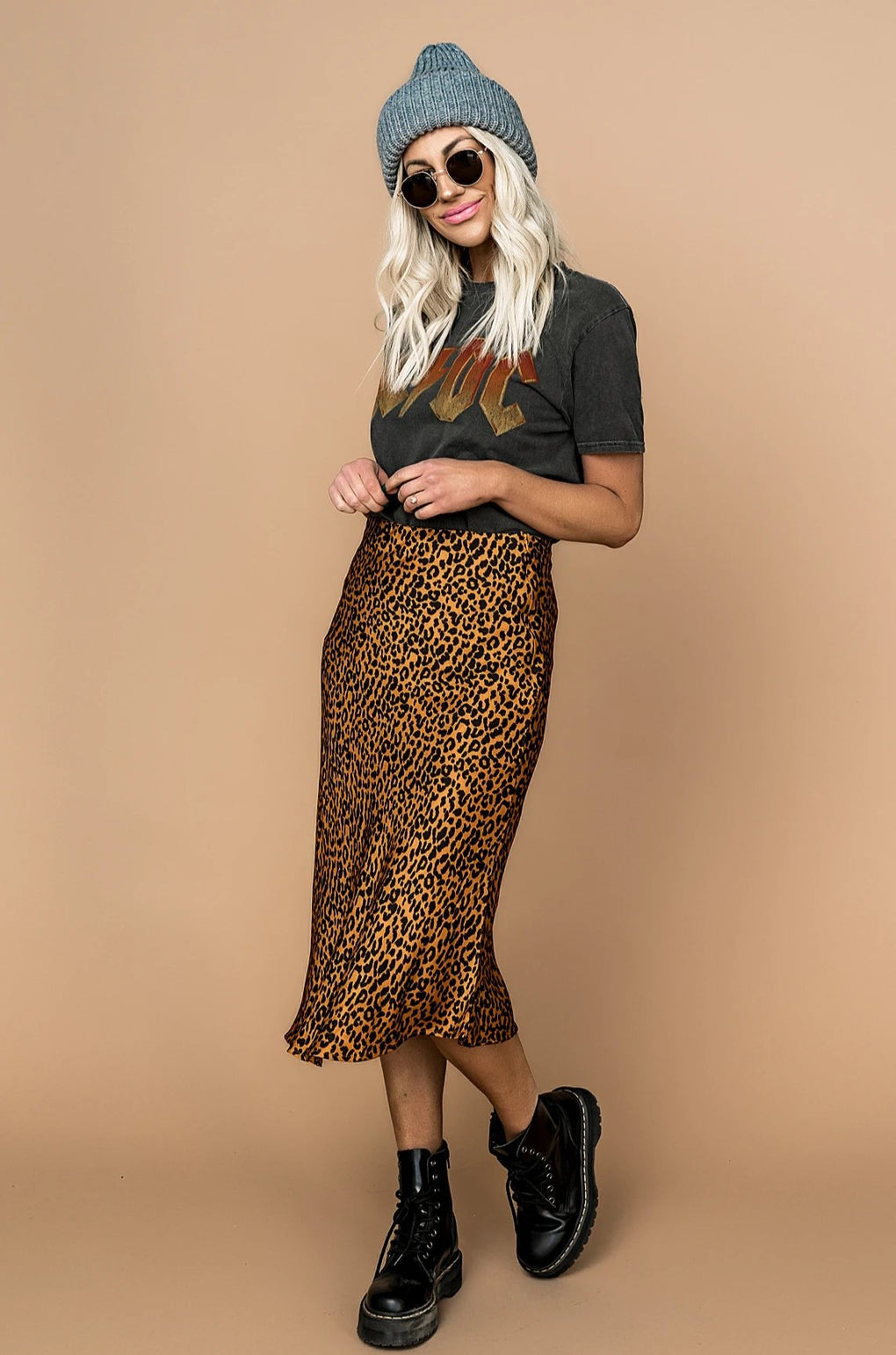 Golden Leopard Satin Skirt