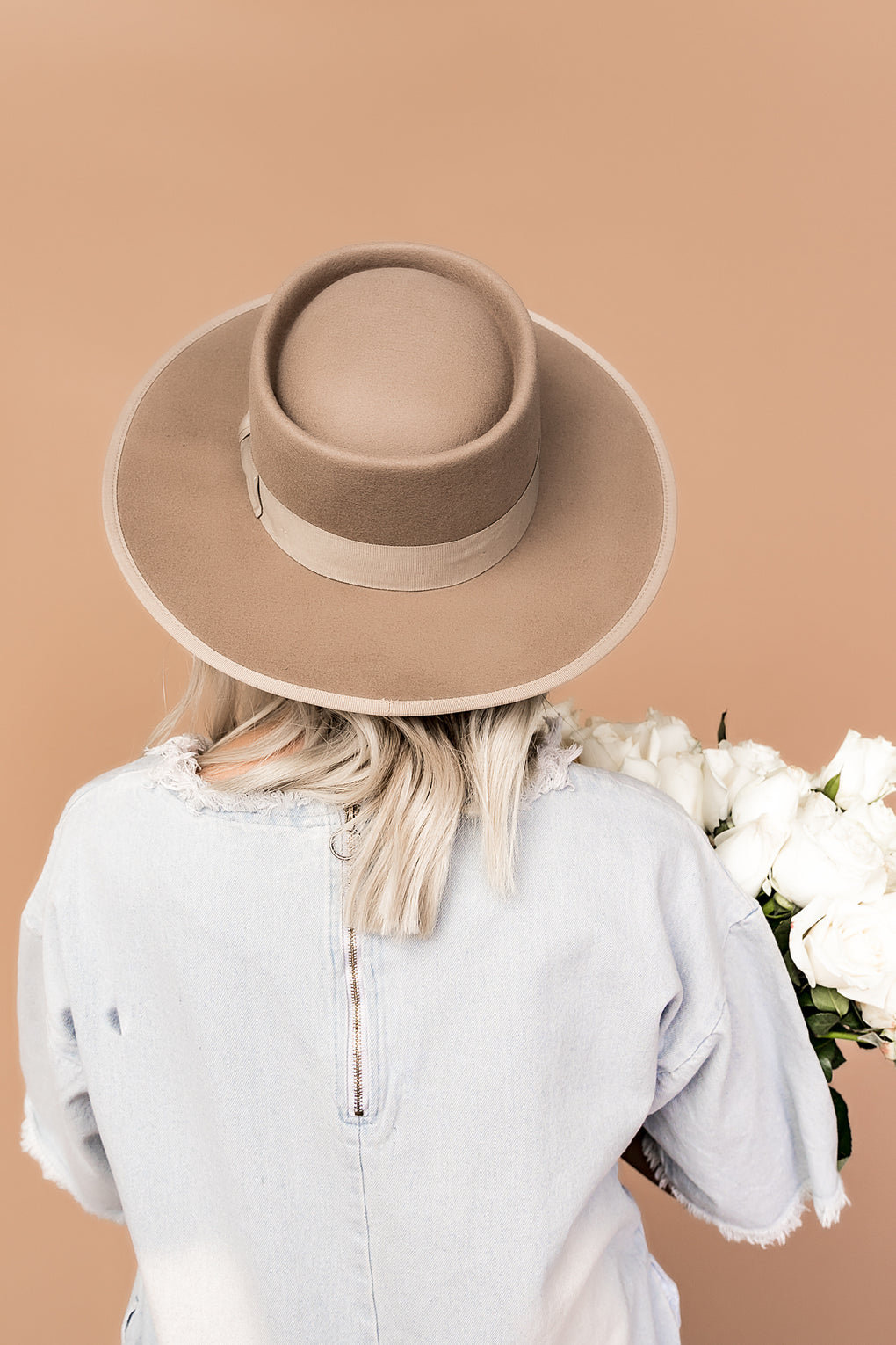 Lola Stiff Brim Hat in Beige *RESTOCKED*