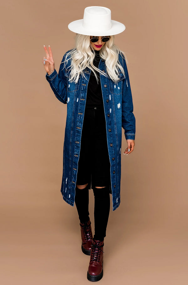City Limits Long Line Denim Jacket