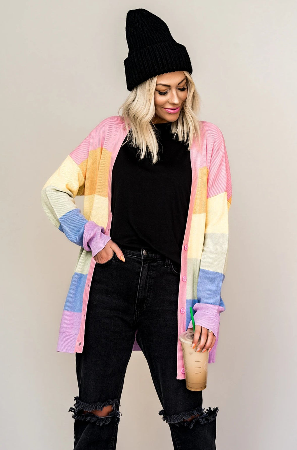 Mochi Rainbow Colorblock Cardigan