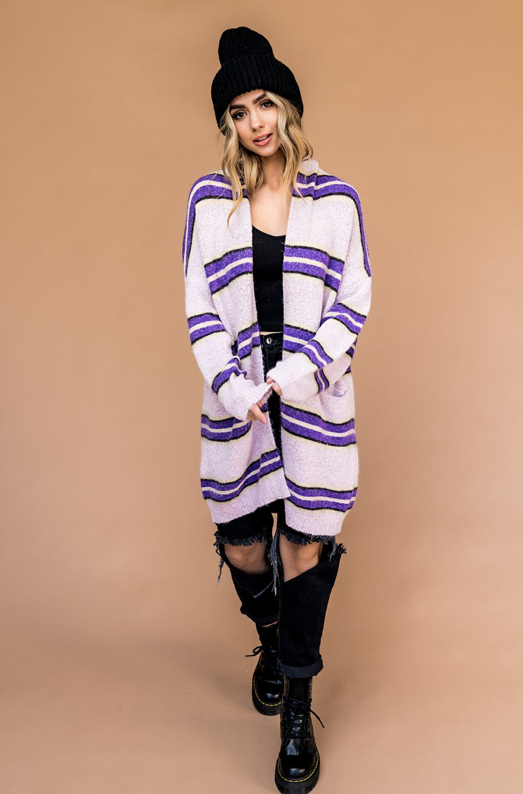 Firefly Oversized Striped Cardigan in Violet