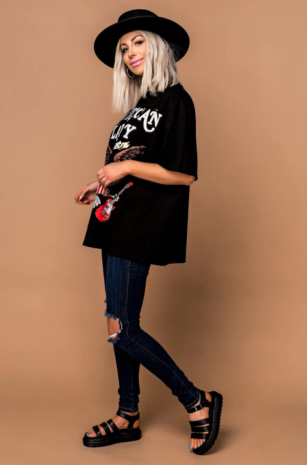 American Lady Distressed Oversized Tee