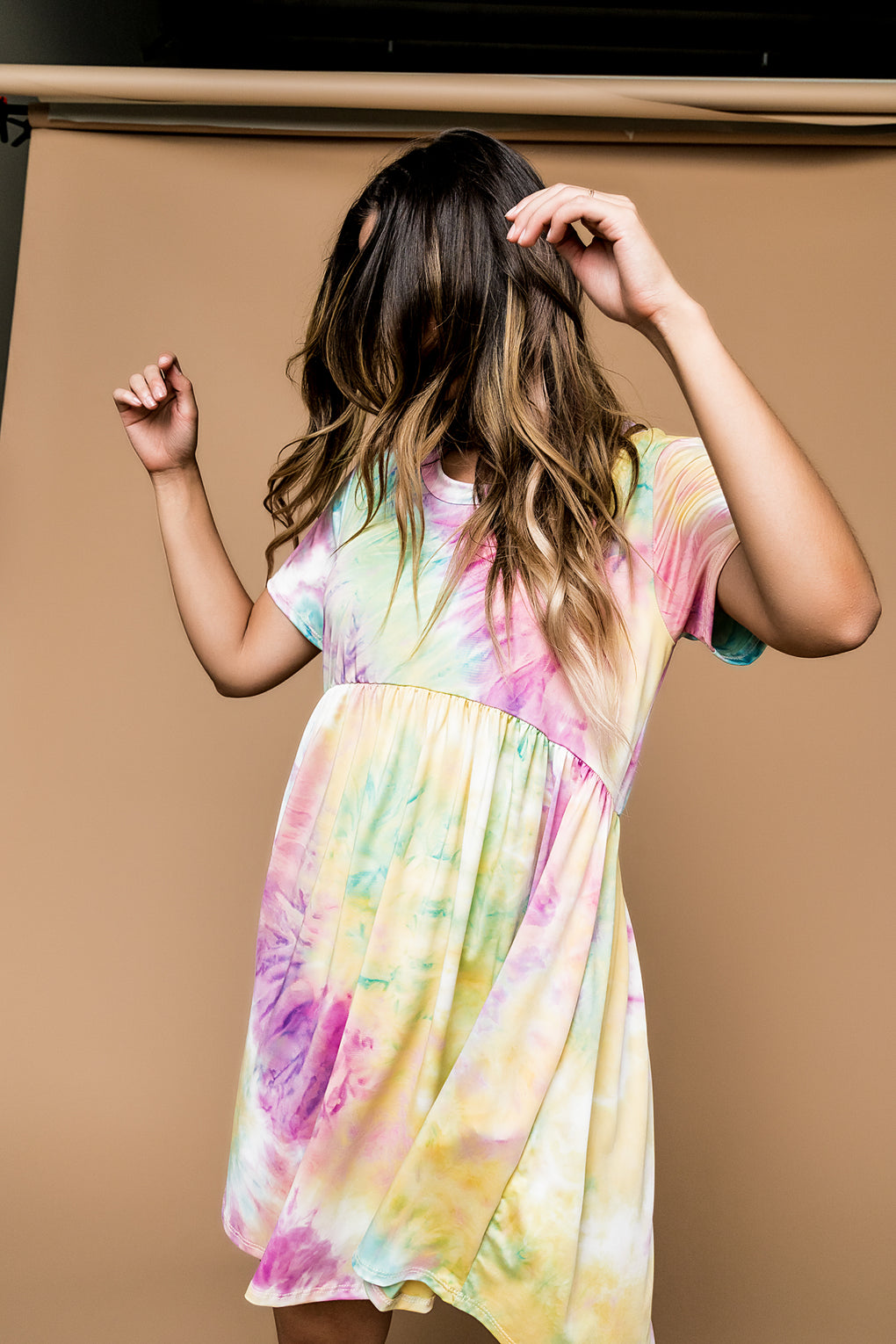 Cotton Candy Clouds Tie Dye Skater Dress