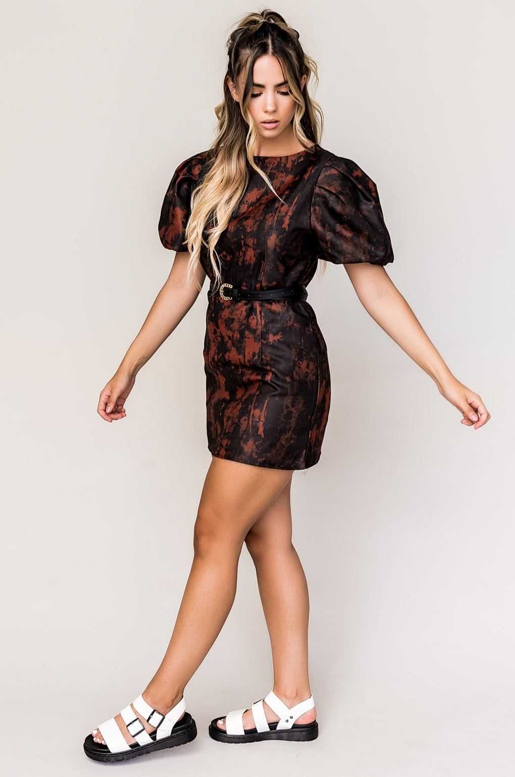Girl On Fire Puff Sleeve Mini Dress