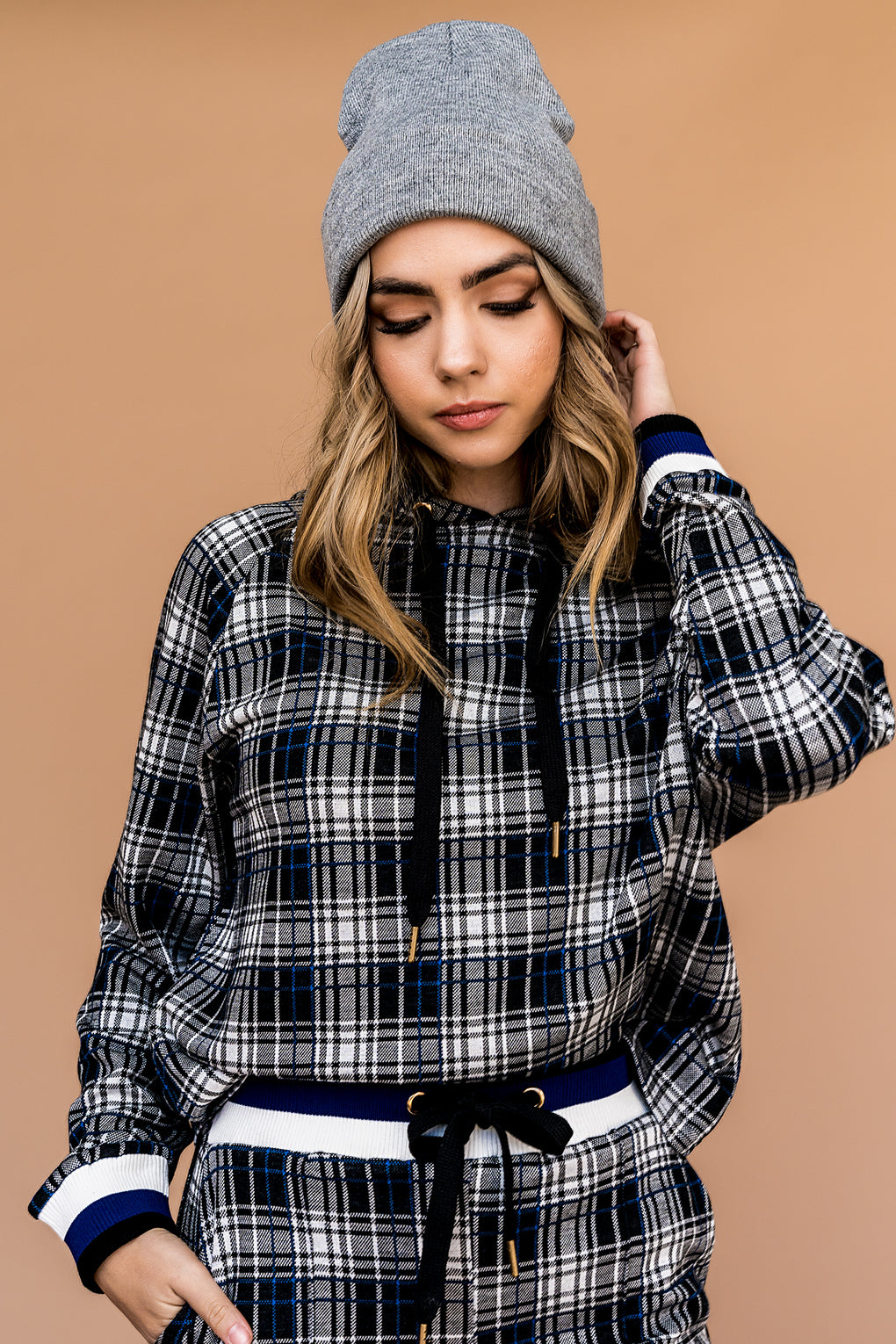 State Of Mind Plaid Hoodie Set