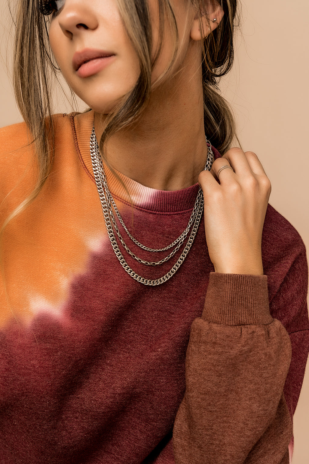 Hells Bells Layered Chain Necklace in Silver