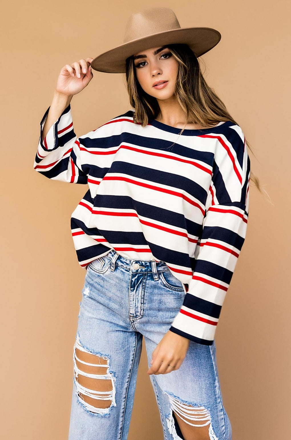 Living Free Oversized Striped Pullover