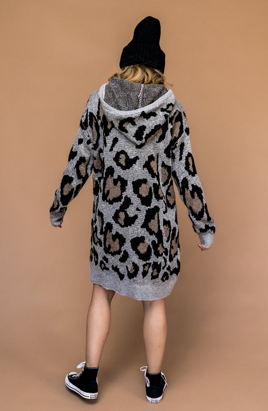 Make Your Move Leopard Hooded Sweater Dress