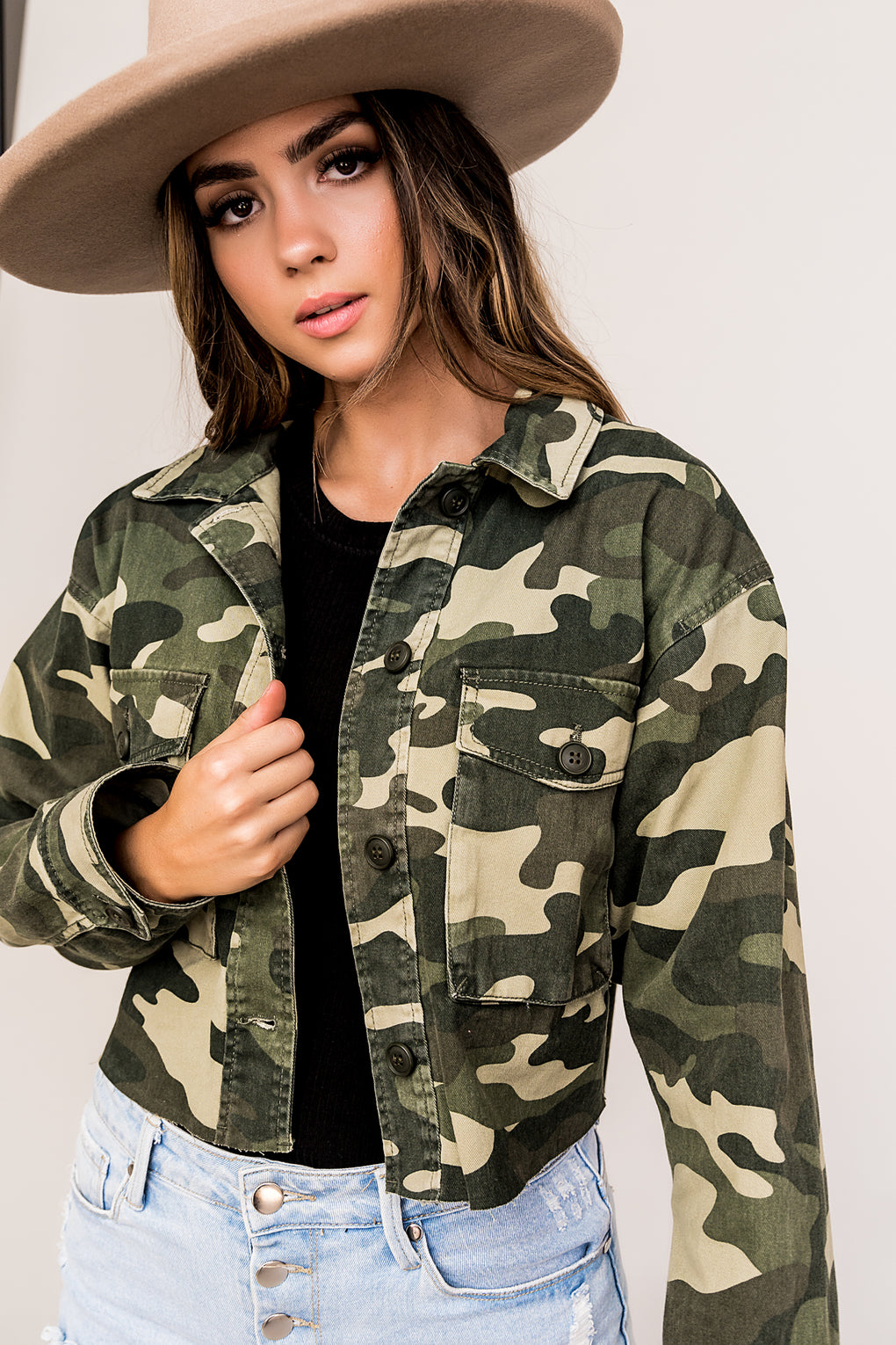 Tough As Nails Cropped Camo Jacket