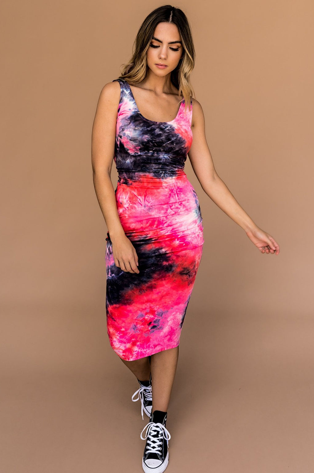 What a Babe Tie Dye Bodycon Dress